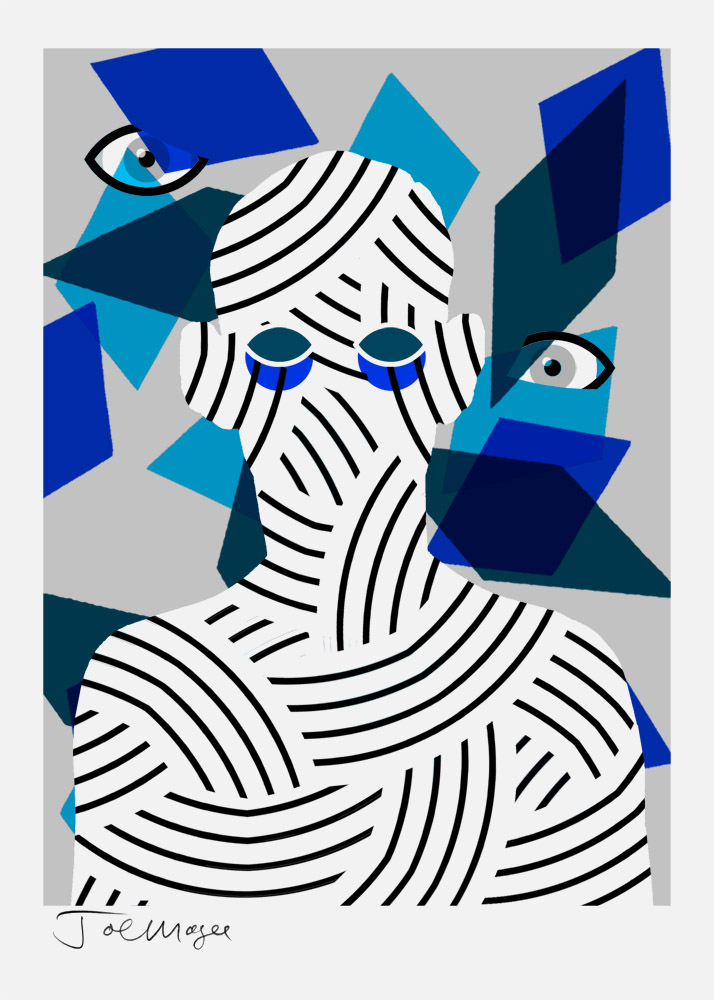 Self Portrait With Rhombuses   Date printed 2014   Print type Screen Print   Number in edition 22   Colours 5   Paper Fabriano Rosaspina   Paper size 70 x 50cm   Image area 60 x 44cm   Signed by artist in pencil