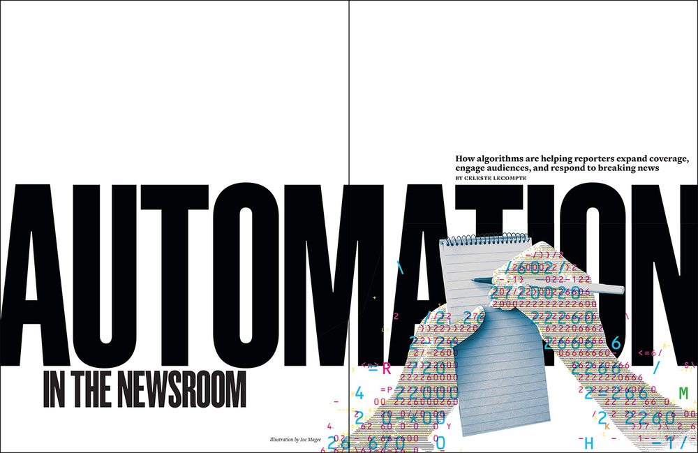 My opening spread illustration, Auto Hands, for the quarter starting September 2015 issue of  Nieman Reports , a publication founded in 1947, based at Harvard College, covering 'thought leadership in journalism'. The article, by Celeste LeCompte, explores the increasing use of algorithms to 'write' journalistic pieces.  The illustration was partially generated by an ascii-art application that converts images, in this case a photograph of hands, into pure text. I generated a series of text representations of the hands using different requests in terms of text size and volume before overlaying the text in the process colours of cyan, magenta, yellow and black. I then intervened in an intuitive ('human!') way to create a more pleasing visual typographic solution. The process mirrors the way journalist in the newsroom guide the algorithms to create digestible content.  CLOSE-UP, below. Joe, 2 Sept 2015