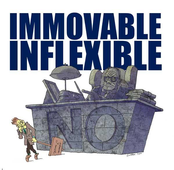 inflexible. inflexible a