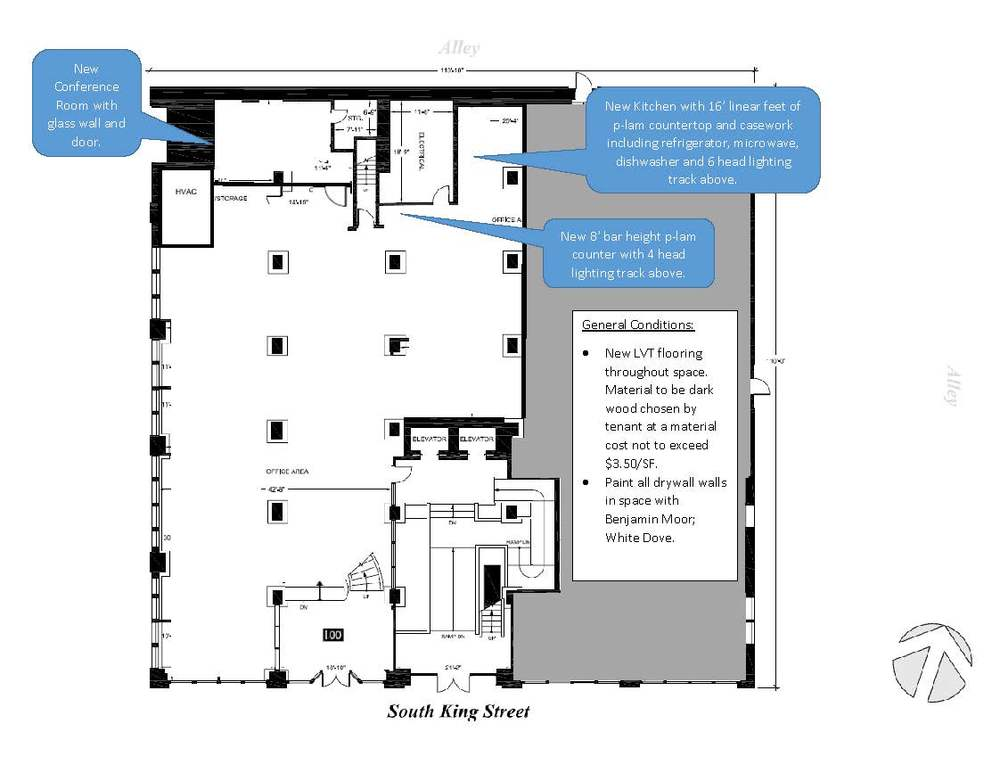 Floor plan of the space that outlines the work to be done. In addition to this level, we also have an upstairs office roughly 500 square feet.