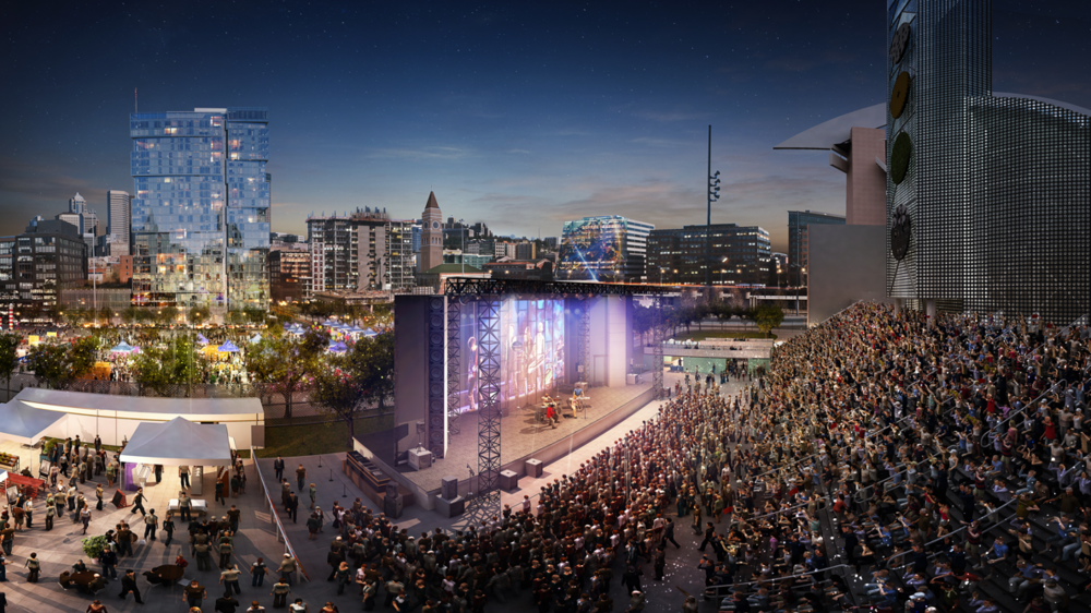 Rendering of the Upstream main stage on the north steps of Century Link Field.