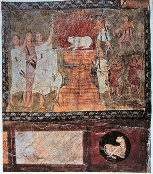 Elijah on Mt. Carmel Dura Europos synagogue, c. 245 CE.
