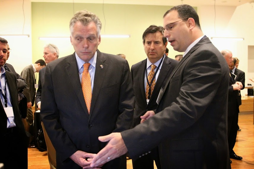 Dr. Sven Brueckner demonstrates AGS technology to VA Governor McAuliffe