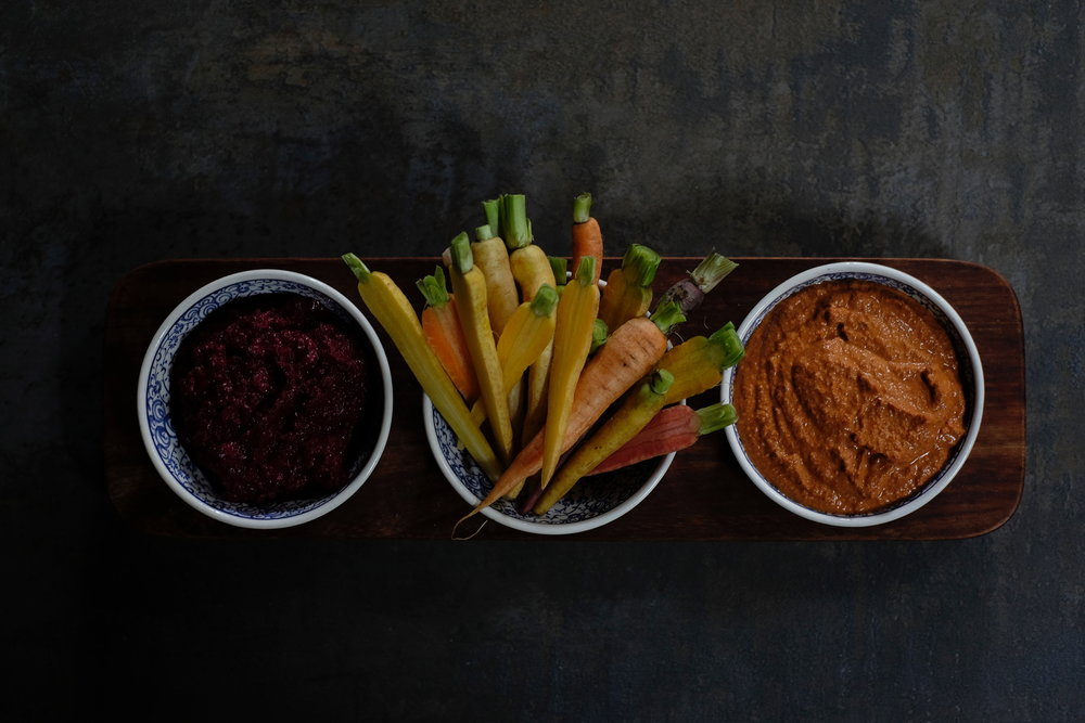 Beet paté (left) and Muhammara (right).
