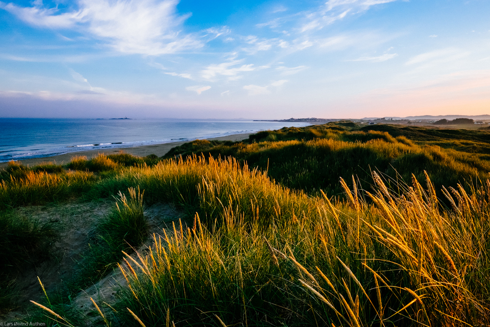 Sunrise over Borestranda, Jæren. Fujifilm X-T1 + XF14mm lens, ISO 800, f/16, 1/125 sec. I could have used a lower ISO and 1/60 sec and gotten a sharp image - but the wind made the grass swayed in the wind so I bumped the ISO to 800. Also I wanted to use f/16 to get it nice and sharp from front to back
