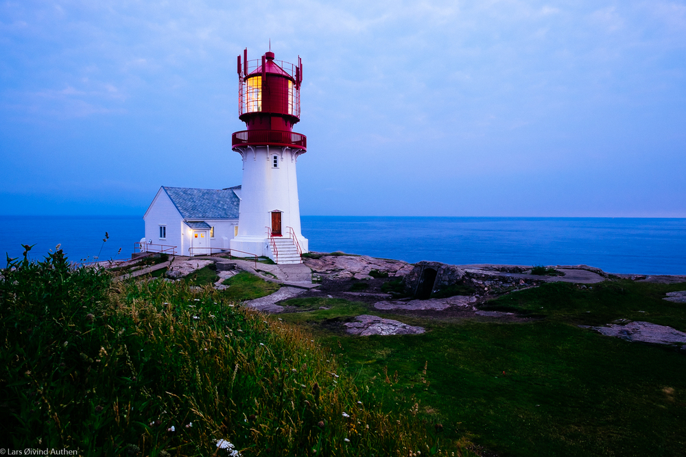 Lindesnes Lighthouse just after sunset. Fujifilm X-T1 + XF 14mm f/2.8R lens, @ ISO 200, f/11, 2.5 sec. Benro tripod.