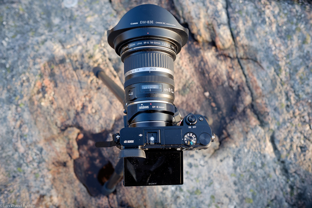 Sony a6000 with the Metabones EF-E IV adapter + the Canon EF-S 10-22mm f/3.5-4.5 USM