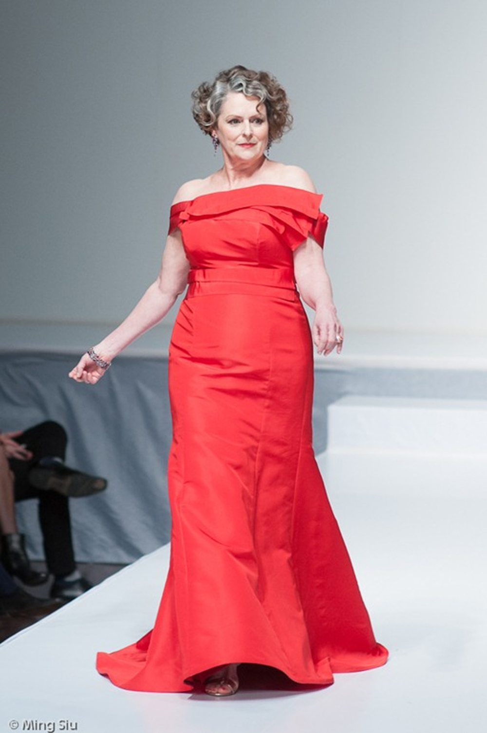 Gabrielle Rose in a custom red gown for the Heart and Stroke Foundation Fashion Show