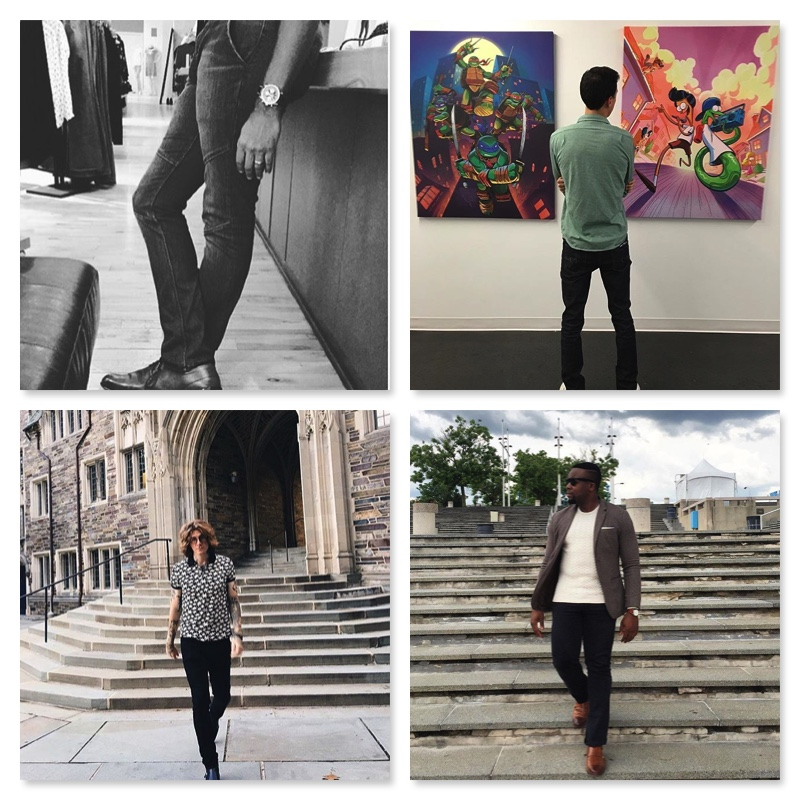 *Jeans featured above, from clockwise: the Panel Skinny, the Straight Leg in Black, the Skinny in Black, and the Straight Leg in Navy.