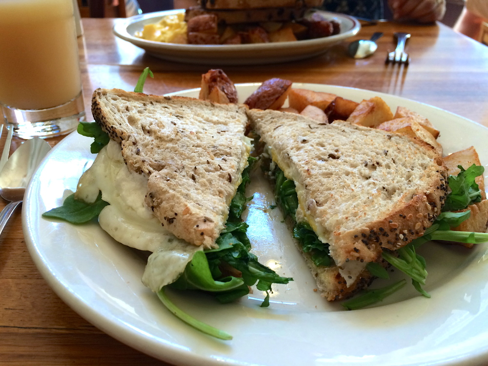 Brunchin' in Gloucester, MA at Sugar Magnolia's. That's multi-grain bread with egg, arugula, goat cheese and fig preserves. I definitely have to re-create this masterpiece.