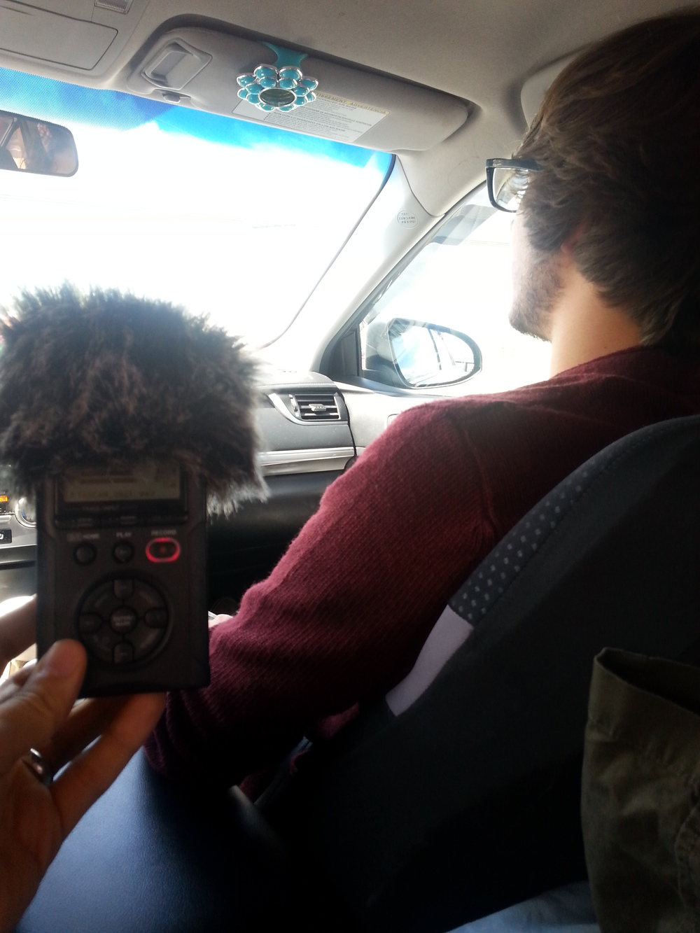 Recording with Steven during a road trip