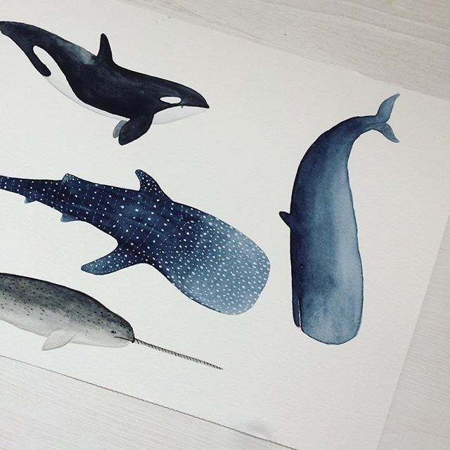 Waouh!! Thank you so much for all the ♥ on the small ceramics from yesterday!! It motivates me to do more and to experiment with more colors :) Today I am sharing something more 'usual' for me: some whales and a whale shark I painted the other day for a new pattern I can't wait to share with you