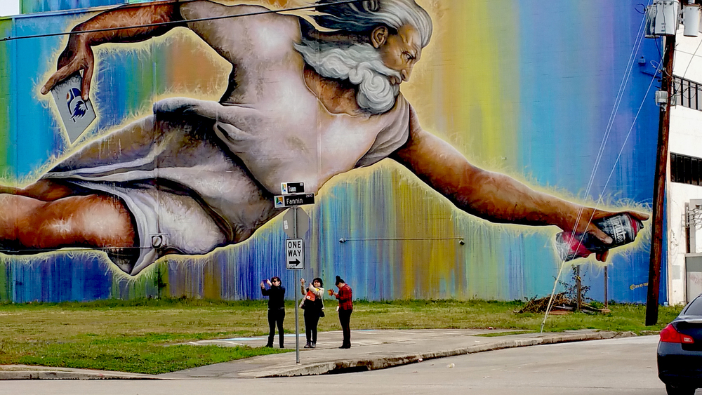 Midtown Houston neighborhood murals initiative. This work by  eyefulart.com  . Is God using an eco-friendly aerosol?