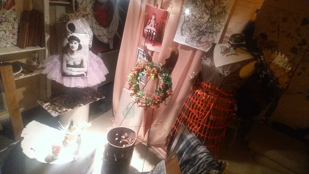 """An #AvasCostumeShop approach to #FantasyFloral #Props & #Floral #PropShop for #Halloween. Branded #PaintersHouse #HauntCouture #CivicArt #Collections. Instagram pic below shows """"Front of House"""" costume #designthinking for a variety of functions."""