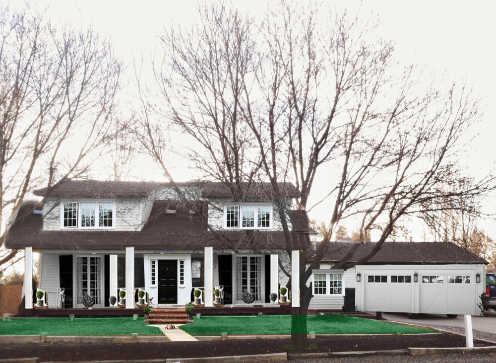 """First I changed the house color to white, for a clean slate. Plus is felt most """"East Hampton"""" to me for this particular house.I extended the roof lines on the first floor on each side to make the top story look smaller and not so heavy and changed the color of the roof (but I'll probably swap out the shingles for a metal one). The pop-ups were both large enough to carry a large window, so the small ones didn't make sense to me. I always vote for light and big over small and dark when it comes to homes. (both windows copied and pasted from image 1) I moved the front doorcenter (image 1) and added two french doors with shutters (image 2), moved the columns and removed one(image 2), for symmetry (I'm also a sucker for that). I added the front steps and walkways and new garage doors with new sconces (random other image from Pinterest). I also added a window between the house and the garage (image 1) so it felt more like one structure instead of two separate ones. Also the topiaries flanking the columns and the totally normal looking green grass."""