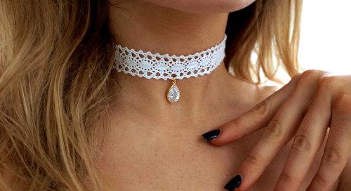 Victorian White Lace Choker w  Vintage Crystal.  il fullxfull.484562321 mikm.jpg c4b2883c7438