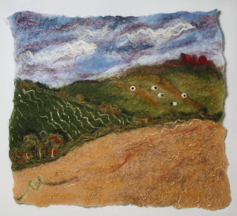 "Enjoying Sunday Brunch Grazing sheep, pretty sky, pastoral fields. 16""w x 14""h. SOLD."