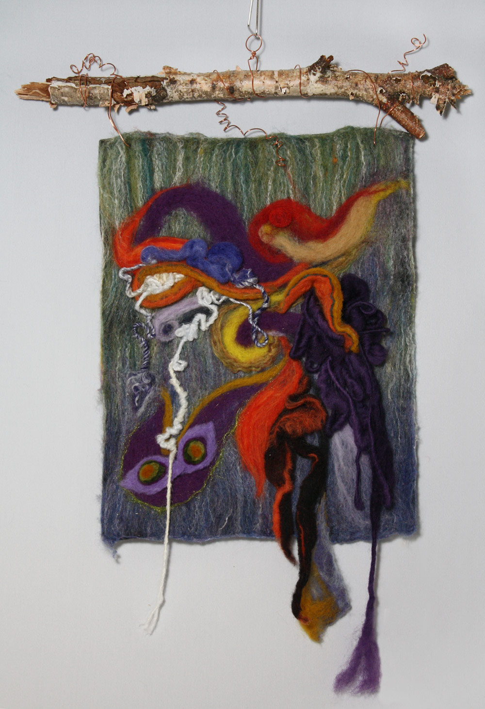 "The Eyes Have It, tapestry, wall sculpture Colourful wet and needle felted sculptural tapestry, 13""w x 18""h including birch branch. SOLD"