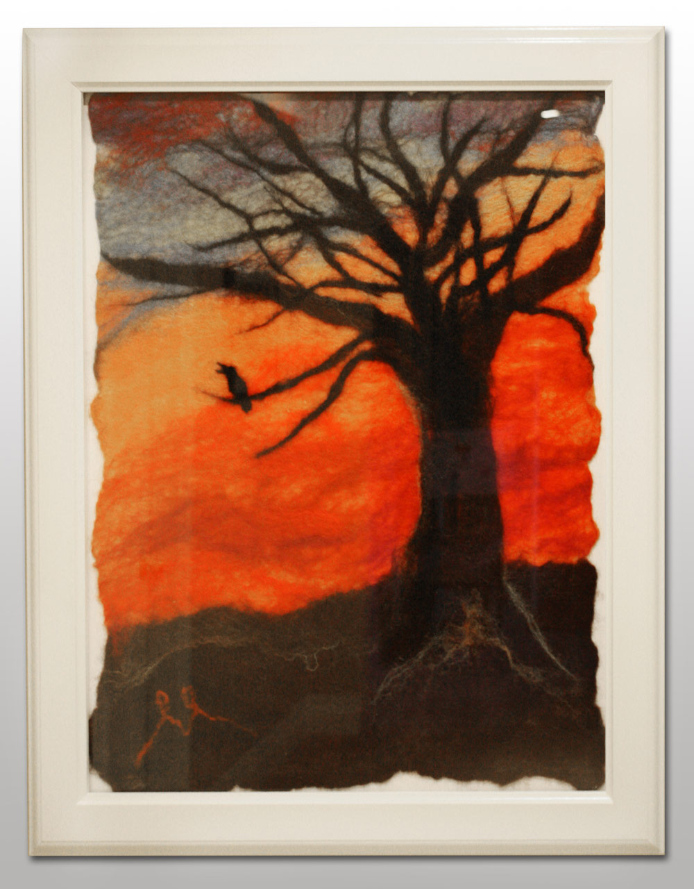 "Sunset Crow Dramatic sky, crow cawing in a silhouetted tree. Framed white. Frame size 19""w x 23""h. $195. To purchase, please contact me."