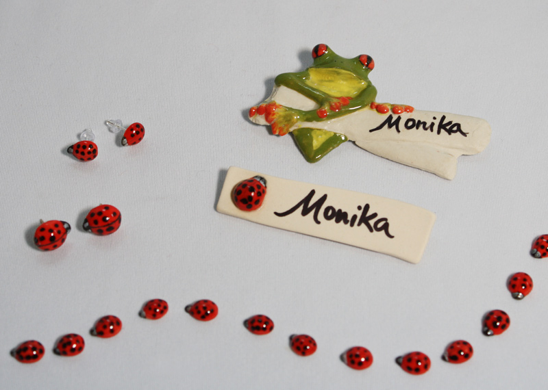 Lady bug pins, earrings and name badges as well as tree frog badges.