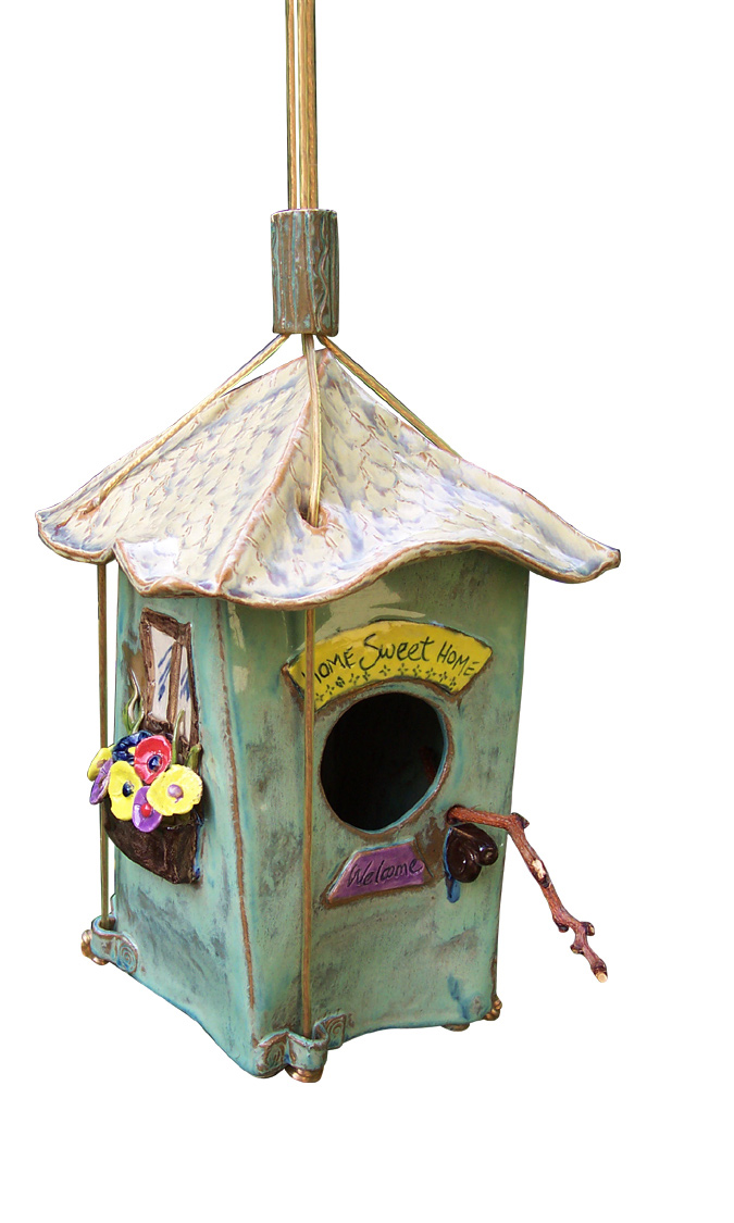 Handbuilt birdhouse with flower boxes and welcome sign, by www.MonikaSchaefer.com  SOLD
