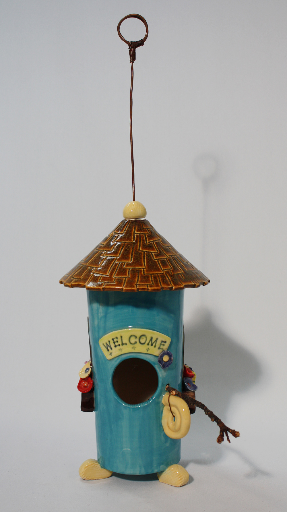 Birdhouse with Window Boxes, front  SOLD