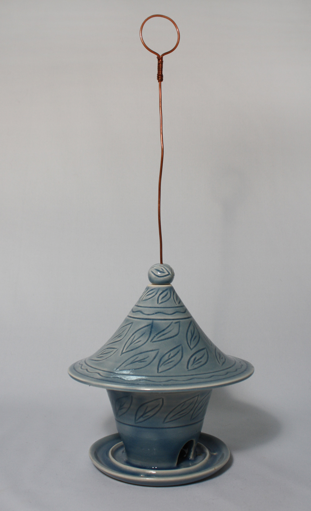 Sky blue bird feeder, $95.. To purchase, please CONTACT ME.