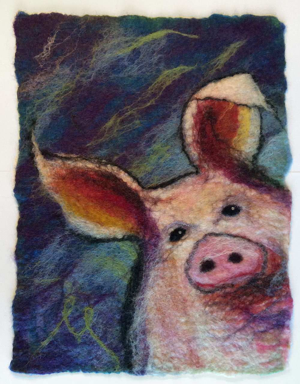 And here is the same tapestry, fully felted. Sold