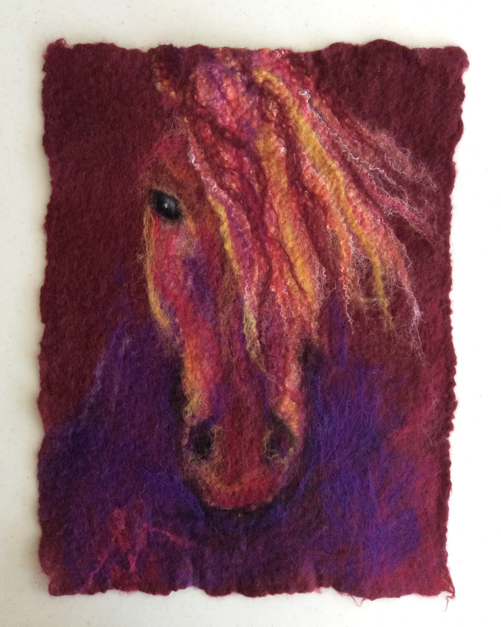"Horse, approx 12"" x 16"", wet felted SOLD"