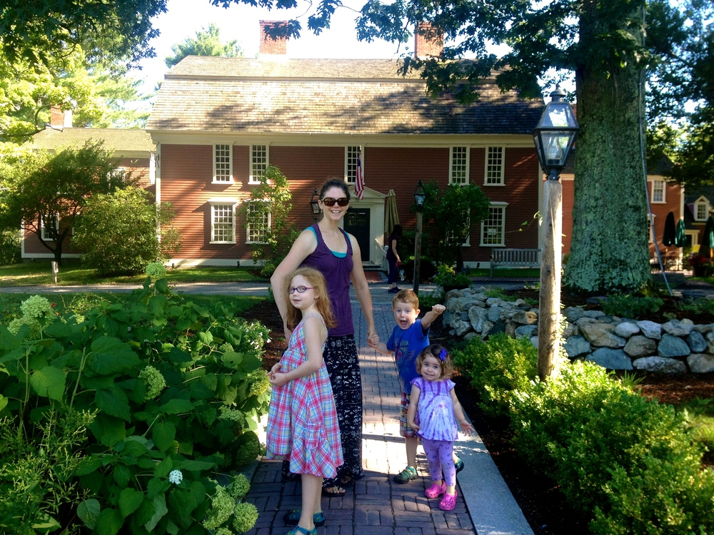 At the main house of Wayside Inn... I love Millie's face in this photo!