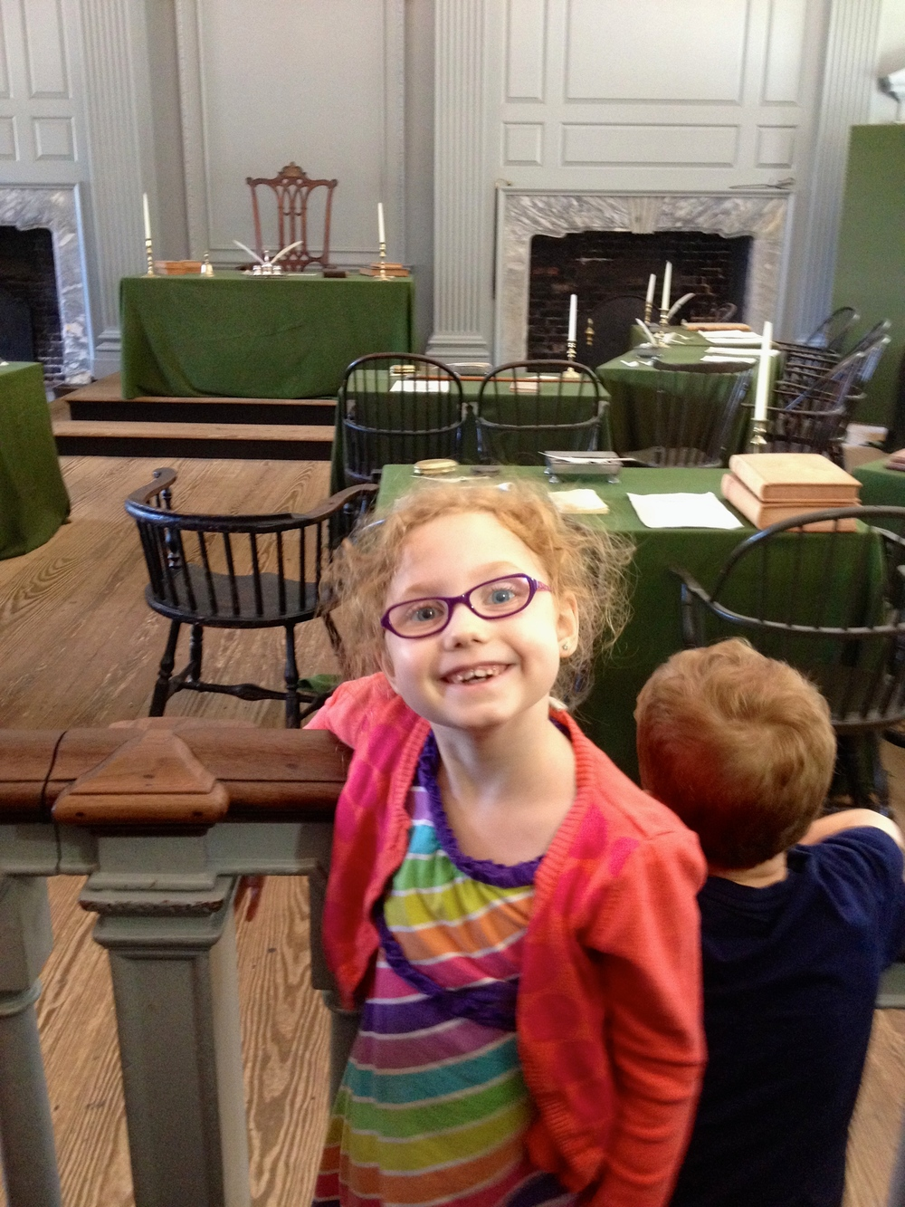 This is the room where a lot of big decisions were made in Independence Hall. We were most excited to see the chair with the rising sun that George Washington sat in during the creation of our Constitution!
