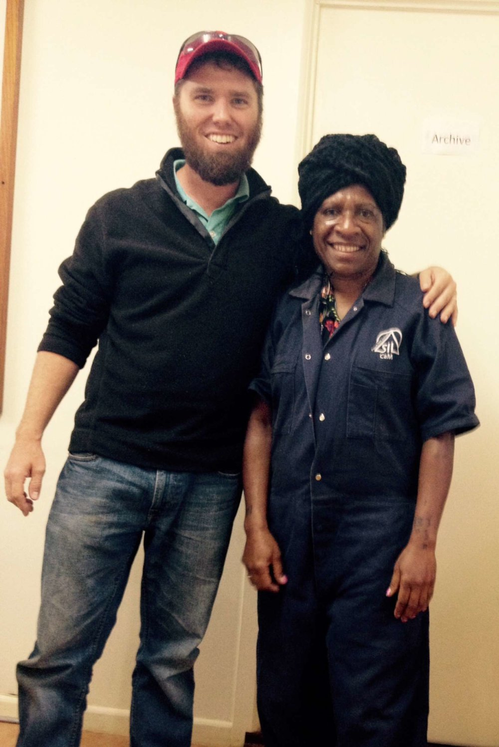 It's gotten cold lately and Mavis (my Tok Pisin teacher and our CAM bookkeeper) puts on coveralls and some weird head wrap to stay warm. I thought she looked like a genie-rapper.