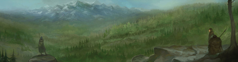 Grimbald on the left, and Agmund the Barding on the right, with Haggol of the Lonely Mountain.