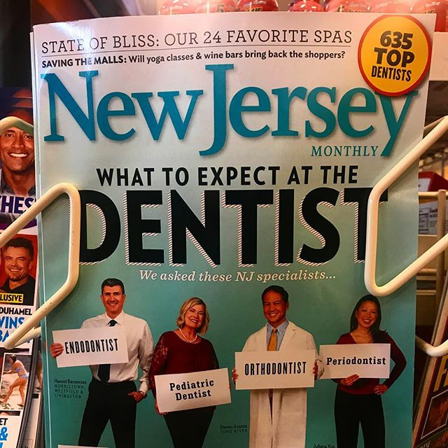 According to my own Instagram of the 2014 edition of New Jersey Monthly magazine's annual top-dentists issue (see below), there were 535 top dentists in the state. This year's cover advertises 635 top dentists. I admire whatever editorial boldness has driven them to claim that in only four short years New Jersey has seen almost a 20 percent increase in the number of top dentists; I'll even concede I was initially skeptical, but any doubts I harbored were quickly dispelled by my general confidence in their methodological rigor. Great news.