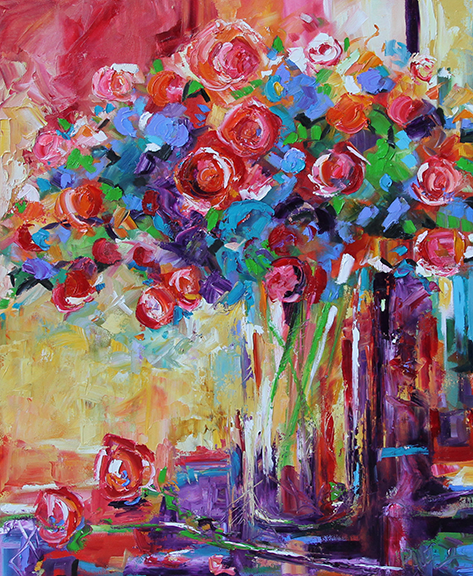 Fair Flowers  24 x 30 inches Oil by Laurie Pace