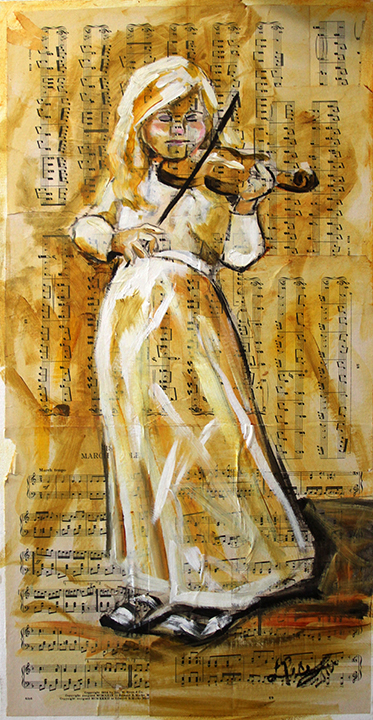 Violin and Girl Laurie Pace © 2012   15 x 30 inches Mixed Media on Canvas