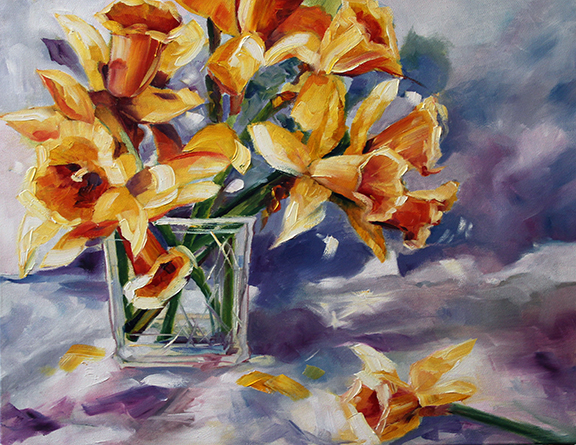 Yellow Daffodils  16 x 20 Oil on Canvas Laurie Pace