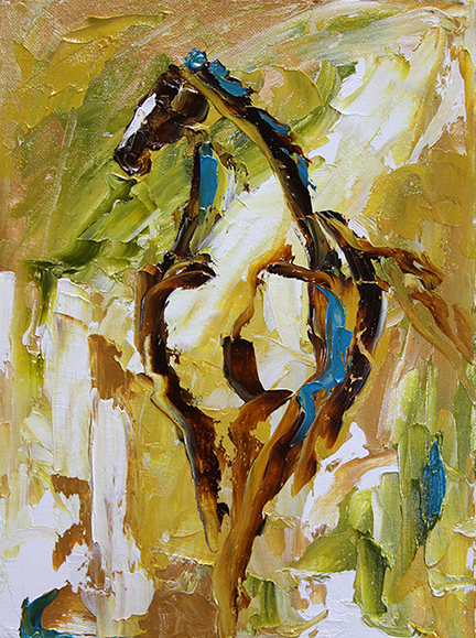 Horse 89 Wheat Fields  9 x 12 Oil on Panel