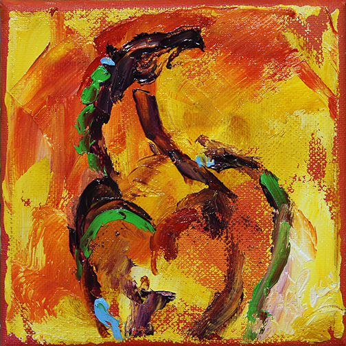 Horse 98 Sunrise Dance  6 x 6 Oil on Canvas © Laurie Pace 2014