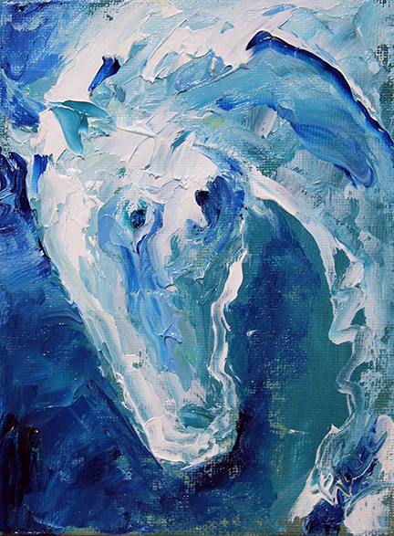 Horse 99 Snowflakes  5 x 7 Oil  © Laurie Pace