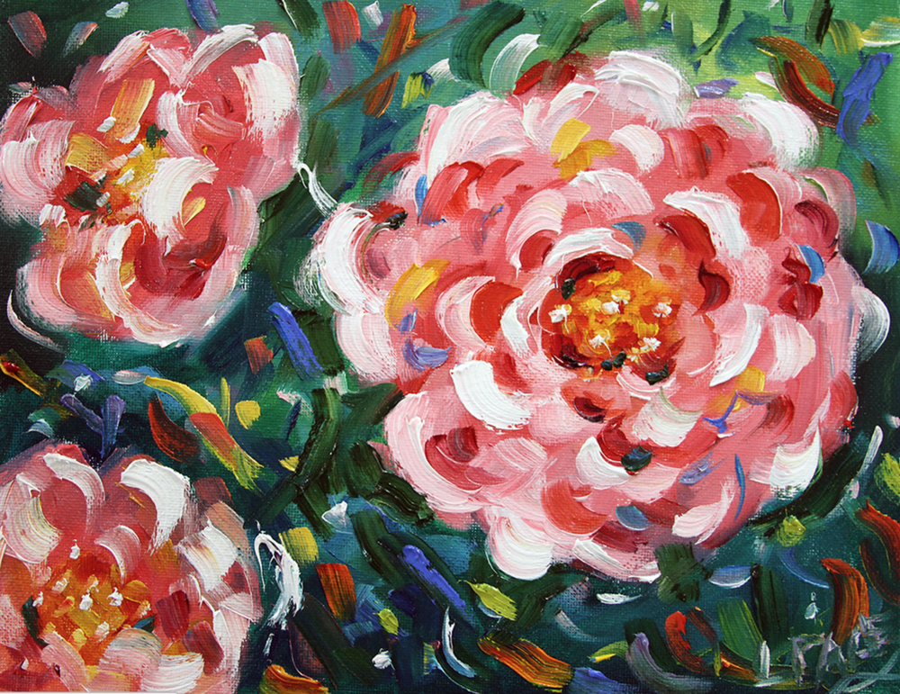 Popping Flower Power  8 x 10 Oil ©Laurie Pace 2015