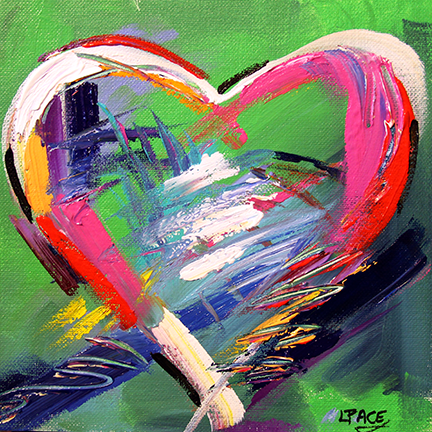 With All Heart  8 x 8 Acrylic on Canvas Panel  ©Laurie Pace