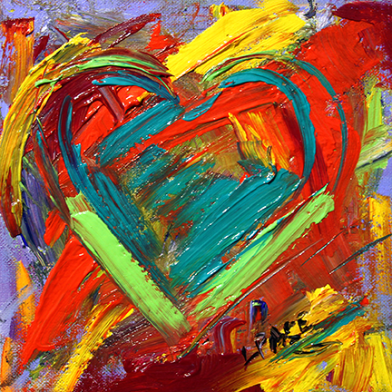 Filled with Heart . 8 x 8 inches Acrylic on Canvas Panel  © Laurie Pace