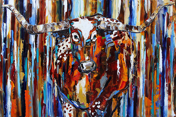 Rocky Mountain Longhorn   32 x 48 inches Oil on Canvas ©LauriePace 2015