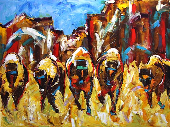 Rocky Mountain Buffaloes 30 x 40 Oil © Laurie Pace 2014
