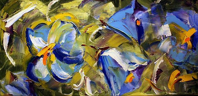 Blue Morning Glory Abstract 12 x 30 Oil ©Laurie Pace 2007