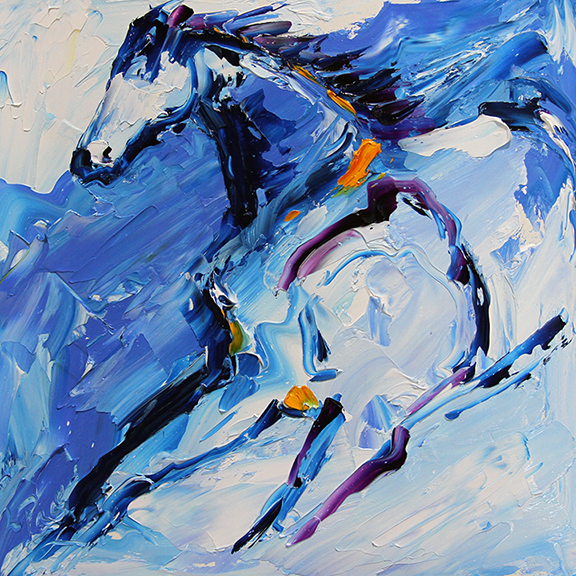 Horse 9 Flee in the Wind 8 x 8 Oil on Panel © Laurie Pace 2015