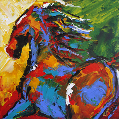 Summer Horse 6 2012 8 x 8 Oil. © Laurie Pace 2015