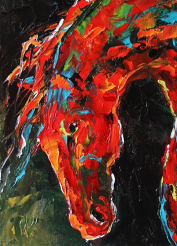 Horse 8  2012 © Laurie Pace  The Power of Red in a painting is overwhelming with energy.