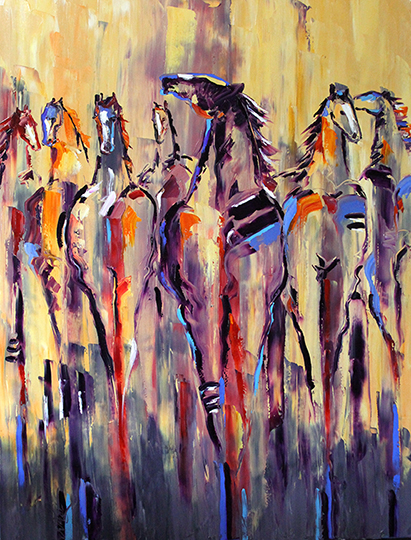 Native Herd Sunrise 3 x 4 ft Oil on Canvas ©2015 Laurie Pace